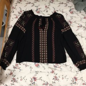 Black Bohemian American Eagle Blouse